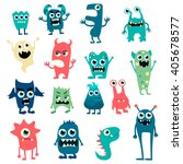 Cartoon Flat Monsters Big Set...