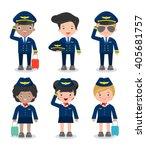 pilot and stewardess. set of... | Shutterstock .eps vector #405681757