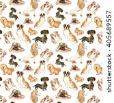 Stock photo pattern with dogs st bernard dog dachshund chow chow poodle pug hand drawing watercolor 405689557