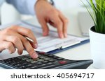 close up view of bookkeeper or... | Shutterstock . vector #405694717