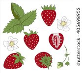 set strawberry compositions ... | Shutterstock .eps vector #405698953