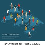 isometric poster of people... | Shutterstock .eps vector #405763237