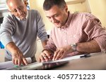 senior and young architect... | Shutterstock . vector #405771223