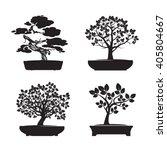 Set Of Black Bonsai Trees....