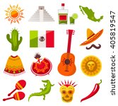 mexico icons set. sun  moai ... | Shutterstock .eps vector #405819547