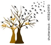 tree with birds flying and... | Shutterstock .eps vector #405824593