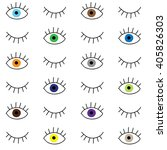 hand drawn eye doodles seamless ... | Shutterstock .eps vector #405826303