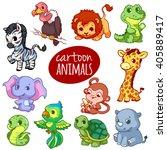 Cartoon African Animals. Cute...