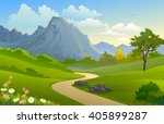 scenic outdoors  'mountain and... | Shutterstock .eps vector #405899287