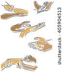 massage the fingers  hands...   Shutterstock .eps vector #405904513