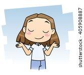 cute cartoon girl shrugging... | Shutterstock .eps vector #405908887