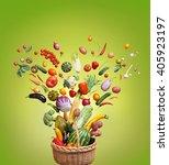 healthy food in basket. studio... | Shutterstock . vector #405923197