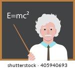 APRIL 14, 2016:  Albert Einstein with pointer presenting Einstein Formula on the blackboard. Cartoon portrait of  scientist and professor isolated, vector editorial illustration.   | Shutterstock vector #405940693
