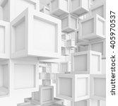 3d illustration of white cubes... | Shutterstock . vector #405970537