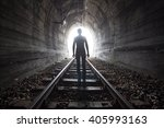 man silhouetted in a tunnel... | Shutterstock . vector #405993163