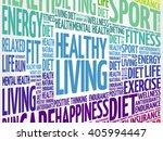 healthy living word cloud... | Shutterstock .eps vector #405994447