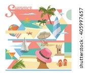 beach scene collage flat vector | Shutterstock .eps vector #405997657