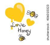 honey and bee vector | Shutterstock .eps vector #406010323