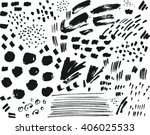 collection of black ink brush... | Shutterstock .eps vector #406025533