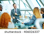 positive ceo holding a meeting | Shutterstock . vector #406026337