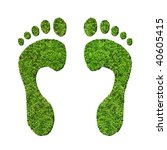 Grass footprints on a white background, relating to the environment. View close up for high detail. - stock photo