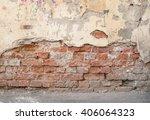 Brick Wall With Crumbling...