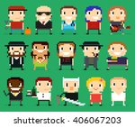 different pixel art characters  ... | Shutterstock .eps vector #406067203