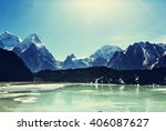 scenic view of mountains ... | Shutterstock . vector #406087627