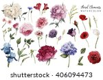 flowers and leaves  watercolor  ... | Shutterstock . vector #406094473