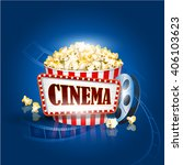 popcorn box  film strip  cinema ... | Shutterstock .eps vector #406103623