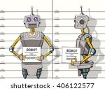 robot arrested photo in police... | Shutterstock .eps vector #406122577