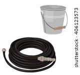 garden set with hose and bucket ... | Shutterstock .eps vector #406123573