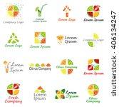 set of logos for fruit organic... | Shutterstock .eps vector #406134247