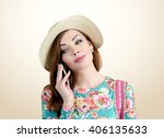 young girl in hat with a... | Shutterstock . vector #406135633