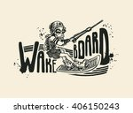 wakeboard. design t shirt.... | Shutterstock .eps vector #406150243