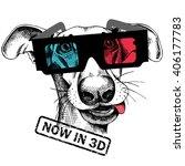 dog portrait in a 3d glasses.... | Shutterstock .eps vector #406177783