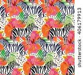zebras  orange hibiscus flowers ... | Shutterstock .eps vector #406179913
