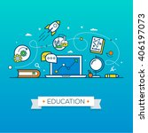 online education flat style... | Shutterstock .eps vector #406197073