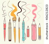 vector writing and painting... | Shutterstock .eps vector #406212823