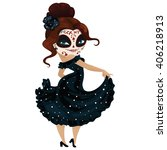girl dancer on carnival cartoon ... | Shutterstock . vector #406218913