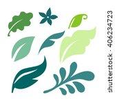 set of vector green leaves... | Shutterstock .eps vector #406234723