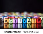 Small photo of Activate on colorful dice