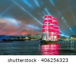 frigate with scarlet sails... | Shutterstock . vector #406256323