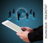 businessman holding a tablet... | Shutterstock . vector #406283767