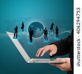 businessman holding a laptop... | Shutterstock . vector #406294753