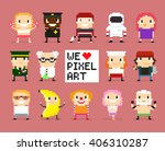 different pixel art characters  ...