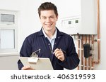 male plumber working on central ... | Shutterstock . vector #406319593