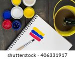 watercolor paint tray with brush | Shutterstock . vector #406331917