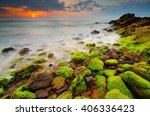 Sunset View At Beach With Moss...