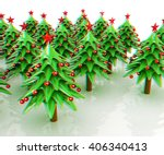christmas trees on a white... | Shutterstock . vector #406340413